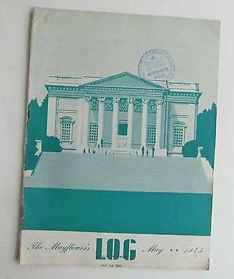 Rare The Mayflower's Log Magazine Tomb Of Unknown Soldier Cover May 1945