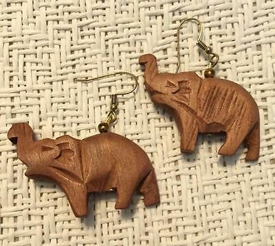 Wooden Carved Elephant Earrings Pierced Wood New Old Stock Safari Animal Jungle