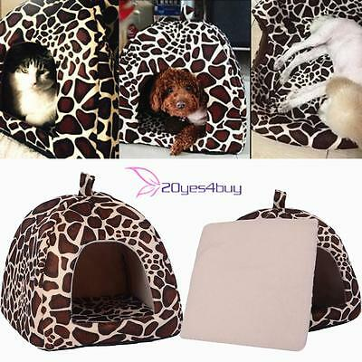 Dog Cat Kitten Pet Soft Strawberry Bed Cave House Mat Puppy Leopard Basket S