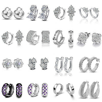Women 925 Silver Plated Crystal Ear Stud Drop Round Hoop Dangle Earrings Jewelry