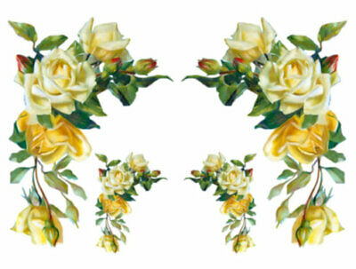 Vintage Image Shabby Yellow Victorian Rose Swag Transfers Waterslide Decal FL339
