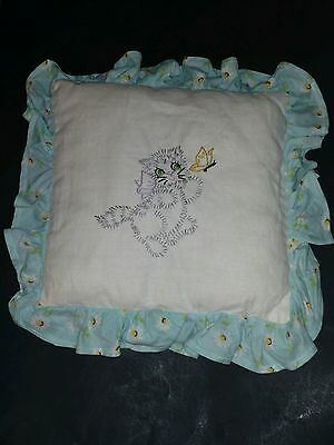 """Vintage Hand Embroidered Kitty Cat PILLOW - Kitten w/ Butterfly Blue Trim 11x11"""""""