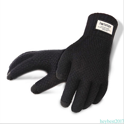 Winter Men Knitted Touch Screen Gloves Warm Outdoor Gloves for Phone Tablet HE7