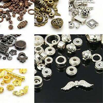 500g Assorted Tibetan Alloy Metal Beads Antiqued Loose Spacers 4~50mm Pick Color