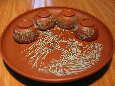 Excellent Chinese Yixing Zisha Famous Scholar Carved Plate W/ 4 Cups