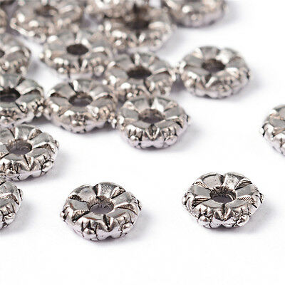 100pcs Tibetan Alloy Flower Metal Beads Decorative Loose Spacers Nickel Free 5mm