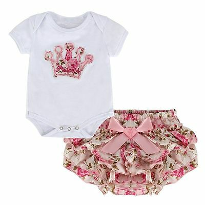 UK Newborn Baby Girls Cotton Tops Romper Floral Pants Outfits 2Pcs Set Clothes
