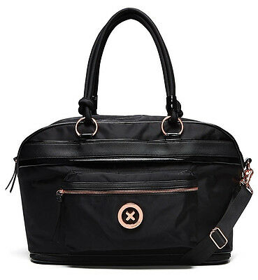Mimco Splendiosa Black Weekender Duffle Travel Overnight Bag Expandable Genuine