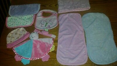 Lot Of 9 Baby Item Accessories  (Toys, Burp Cloths, Hat, Wash Cloths)