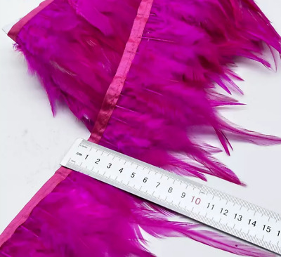 Hot Pink Rooster Feather Fringe Ribbon Trim Price for 30cm DIY Craft Sewing Juju