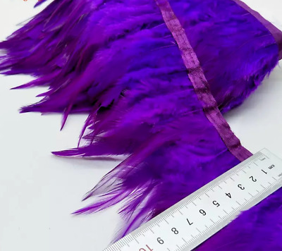Purple Rooster Feather Fringe Ribbon Trim (price for 30cm) DIY Craft Sewing