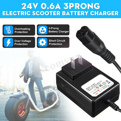 24V 0.6A 3Prong Electric Scooter Battery Charger For Razor E100 E125 E500S PR200