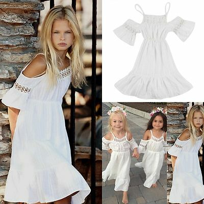Flower Girls Princess Dress Kids Baby Party Wedding Pageant Lace Dress Clothes