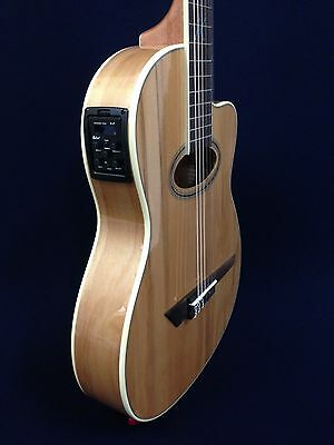 M Rosales 03CEQ/N Straight Cutaway, Nylon String Classical Guitar w/EQ,Truss Rod