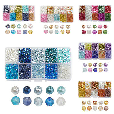 1 Box Round Glass Beads 3 Style Crackle Glass Pearl Finish Loose Beads 4~8mm DIA