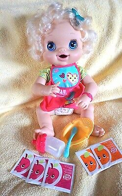 My Baby Alive 2010 Interactive Doll Blonde Hair Accessories Bottle Dish Spoon