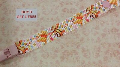 Cute Handmade Dummy Pacifier Saver Clip Baby Shower Girls DISNEY WINNIE THE POOH