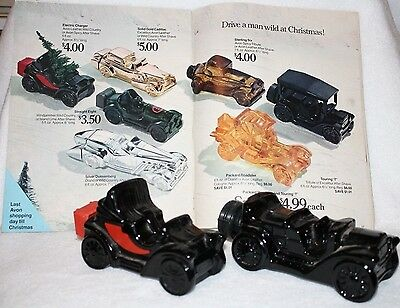 Lot of 2 Vintage Avon Car Decanters w/1970 Campaign Booklet!