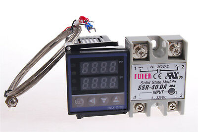 REX-C100 Digital RKC PID Temperature Controller 220V +Max.40A SSR +K Probe Cable