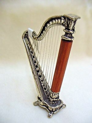 Harp Statue Handmade Sterling Silver & Wood Miniature   Musical Instrument Harp