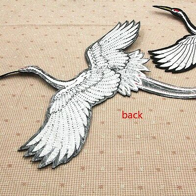DIY Red-crowned Crane Embroidered Patches Iron on Patch Cloth Sticker Applique