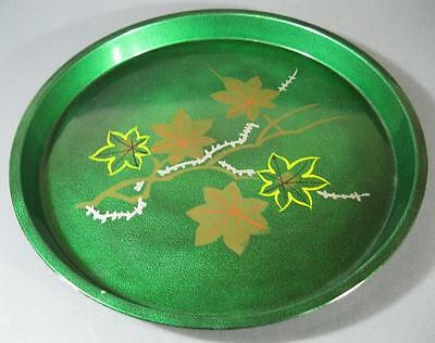 Vintage retro 60s green lacquer ware drinks/serving cocktail tray -round 32cm