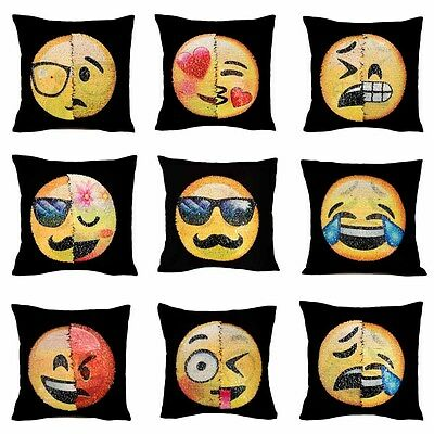 Yellow Emoji Smiley Emoticon Sequins Black Square Cushion Toy Doll Pillow Case