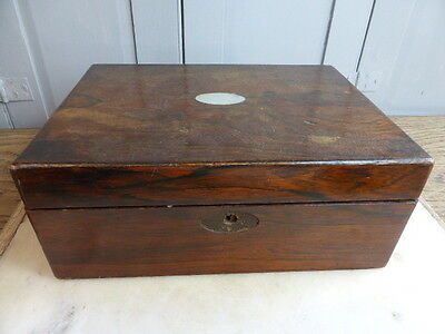 Antique Victorian wooden box with mother of pearl inlay