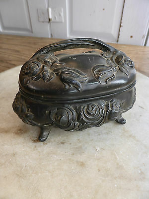 Antique Art Nouveau pewter lidded jewellery trinket box or pot
