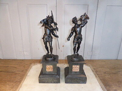 Pair antique cast spelter historical figures on marble bases for mantelpiece