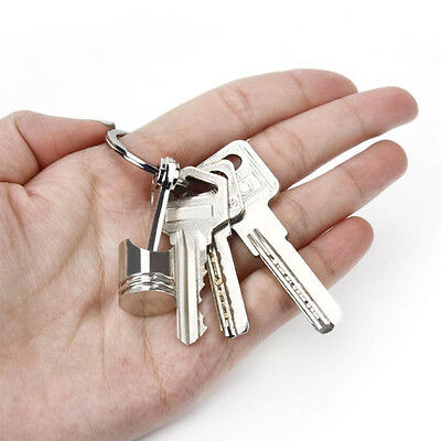 Chic Metal Piston Car Keychain Keyfob Engine Auto Fob Key Chain Ring keyring