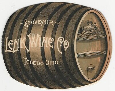 1892 Lenk Wine Co. Toledo Ohio Wine Barrel Shaped Booklet - American Vineyard