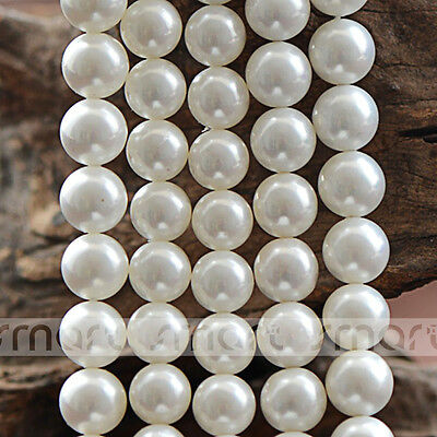 """White Synthetic Pearl Round Loose Beads 15.5"""" Inches Strand 6 10 12mm"""