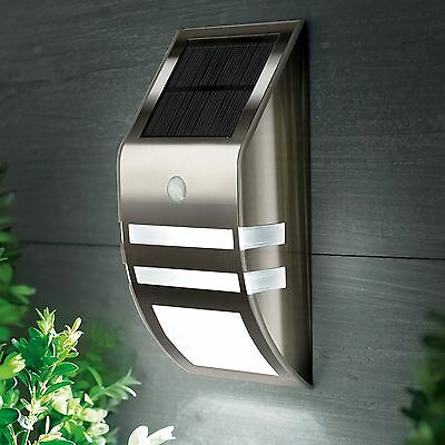 2 LED Stainless Steel Solar Powered PIR Motion Sensor Wall Security Light Lamp
