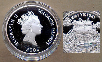 2005 Silver Proof (.999) 25 Dollars: HMS VICTORY (Fighting Ships) Solomon Isles