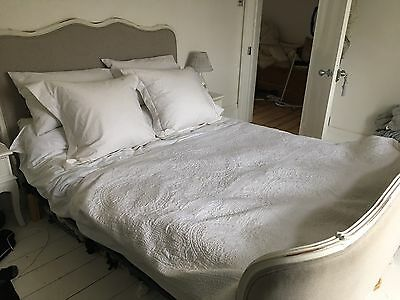Gorgeous King size French Antique Upholstered Corbeille Whjte And Grey Bed