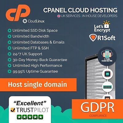 UK cPanel Could Website Hosting / Web Hosting For 1 Years 24/7 Support
