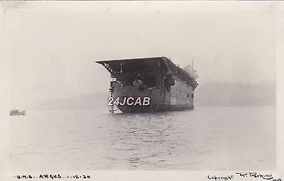 "Royal Navy Real Photo. HMS ""Argus"" Aircraft Carrier. Perkins. Rare Version! 1930"