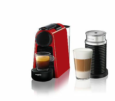 nespresso by magimix essenza mini coffee machine with aeroccino3 ruby red 11373. Black Bedroom Furniture Sets. Home Design Ideas