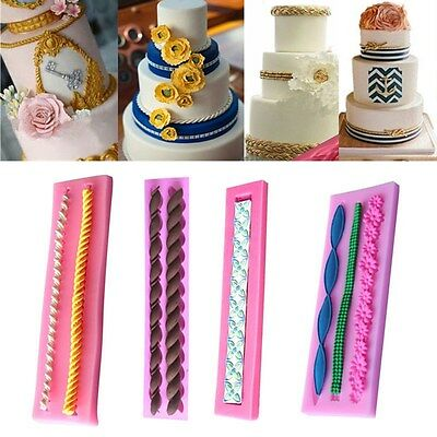 Long Rope String Silicone Fondant Mold Cake Decoration Chocolate Sugarcraft Mold