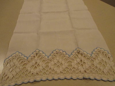 Vintage Crocheted Lace Damask Huck Linen Tea Towel - Hand Towel French Blue