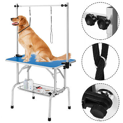 36'' Pet Dog Grooming Table Portable Drying Table Home Use Adjustable Loop Arm
