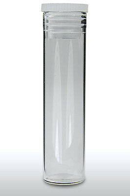GLASS SPECIMEN TUBES FLAT BOTTOM WITH POLY STOPPER 50MM x 19MM (PACK 5) LAB