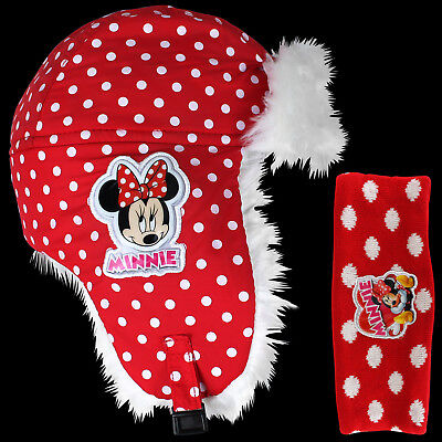 Disney Minnie Mouse Fellmütze Stirnband Kinder Mütze Kopfband Haarband Winter