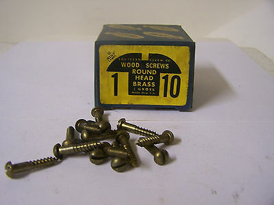 "#10 x 1"" Round Head Brass Wood Screws Solid Brass Slotted Made in USA Qty.140"