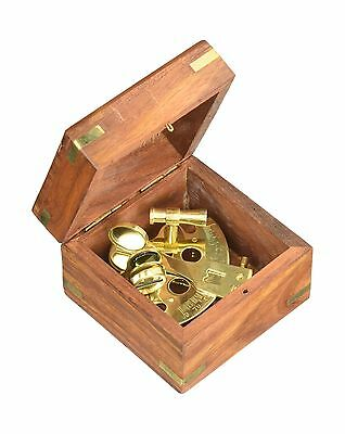 "4"" Astrolabe Sextant w/ Wooden Box: Nautical Sextant 4"" INCHES - NEW"