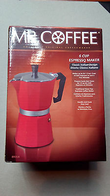 Mr. Coffee make 6 CUP x 1.5 Oz Cup  Stove top Espresso Maker Pot RED NEW (670)