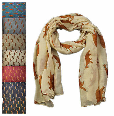 Women Lady Fox Animal Printing Soft Large Summer Spring Autumn Wrap Scarf