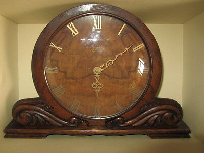 Antique English Smith Wooden 8 Day Mantel Clock