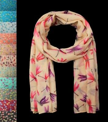 Women Lady Dragonfly Libellula Print Soft Large Summer Spring Autumn Wrap Scarf